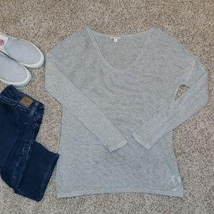 GAP lightweight mesh cotton heather gray sweater